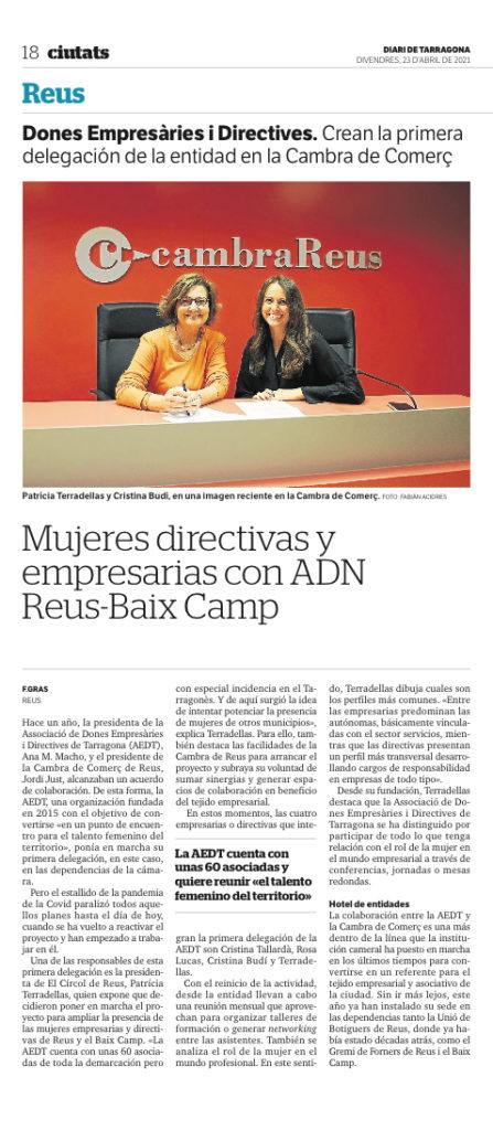 Entrevista al Diari de Tarragona AEDT Baix Camp